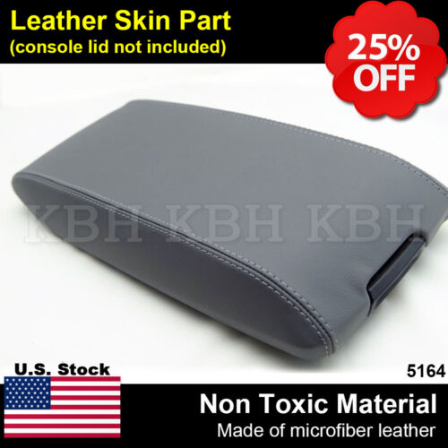 Leather Armrest Center Console Lid Cover Fits for Dodge Charger 2006-2007 Gray