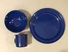 3 Pcs Cookware Dish Enamel Tableware Cooking Camping Picnic Outdoor Sport Set
