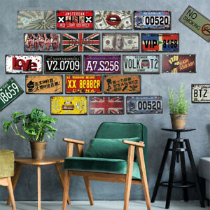 Vintage-Car-Number-License-Plate-Wall-Painting-Truck-Iron-Craft-Bar-Decor-JL