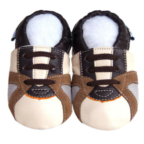 Boys Gift Soft Sole Leather Baby Shoes Infant TrainerBeige Mocassin Crib 18-24M