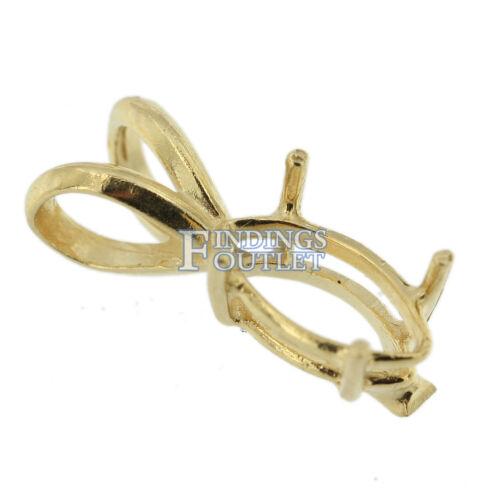 14K Yellow Gold Marquise Pendant Setting Rabbit Ear Bail Mounting 0.10ct-3.75ct