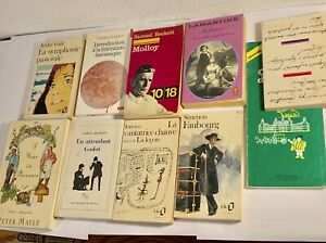 Lot-Of-10-Vintage-French-Paper-Back-Books-1950s-1970S