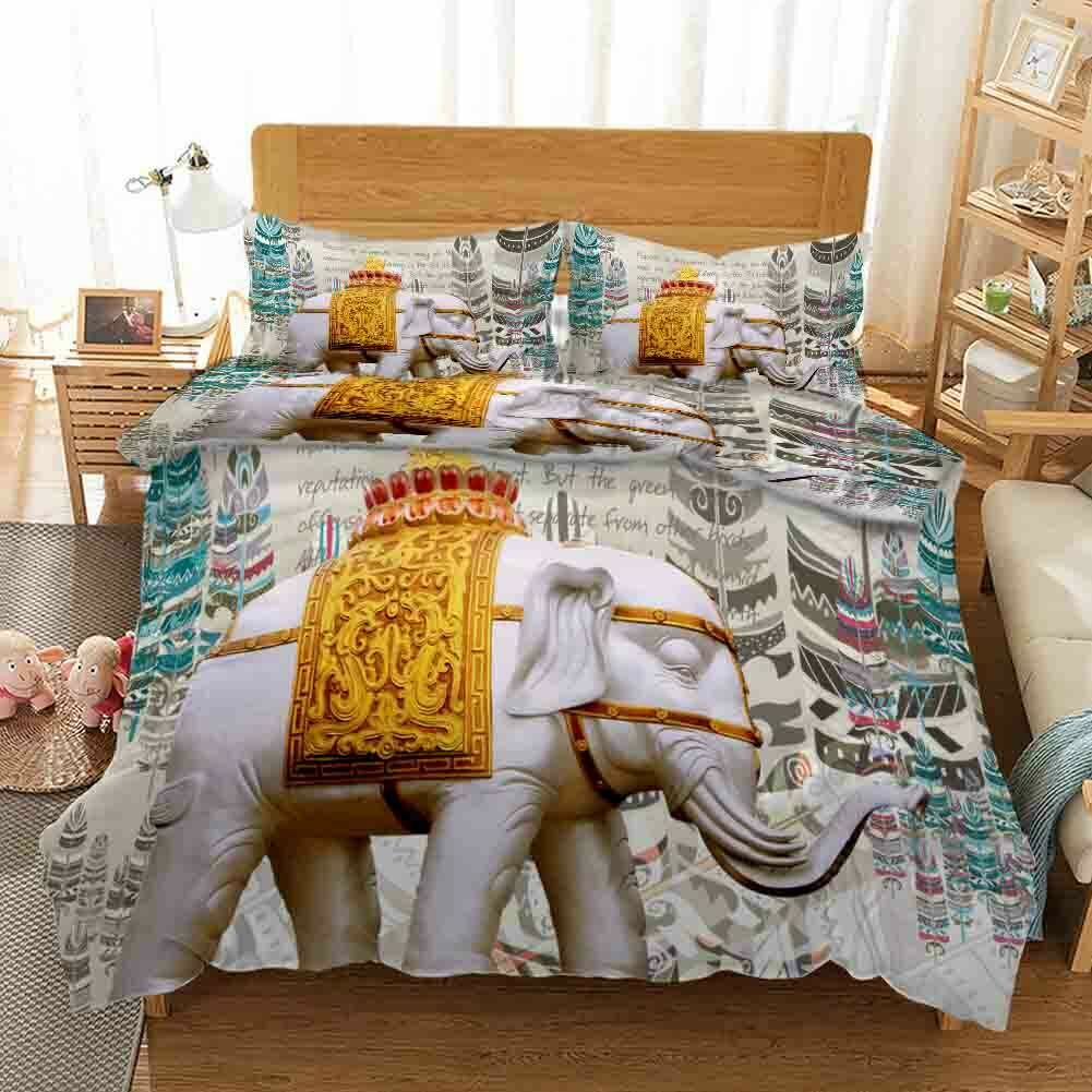 Gelb Elephant 3D Printing Duvet Quilt Doona Covers Pillow Case Bedding Sets