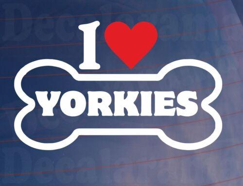 I LOVE//HEART YORKIES Novelty Bone Car//Van//Window Sticker Ideal for Dog Owners