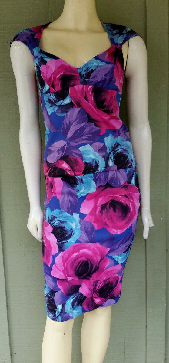 NWT KAREN MILLEN ENGLAND Floral Pencil Skirt Top Outfit Set 2 4 Pink bluee