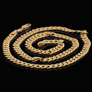 10K-Yellow-Gold-Filled-GF-Smooth-Embossed-Link-Chain-Necklace-60cm-Long-6mm-W