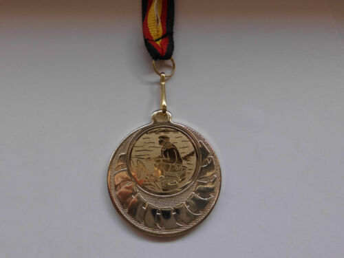 Angeln Angler Kinder Medaillen mit Deutschland-Bändern Pokal Turnier mit Emblem