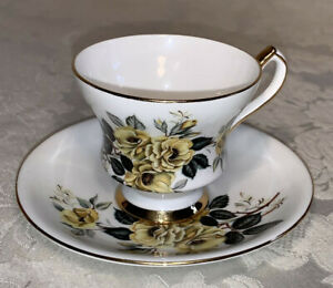 Society Yellow Floral Roses Bone China Tea Cup & Saucer Gold Trim England