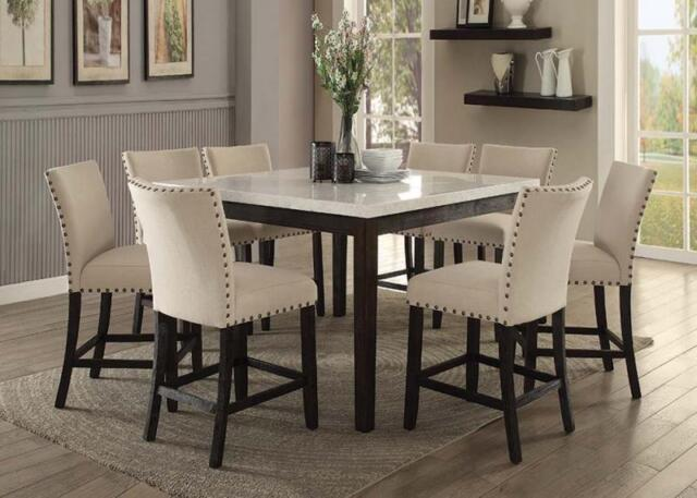 Genial Acme Furniture Nolan Counter Height 9 Piece Marble Top Dining Set 72855
