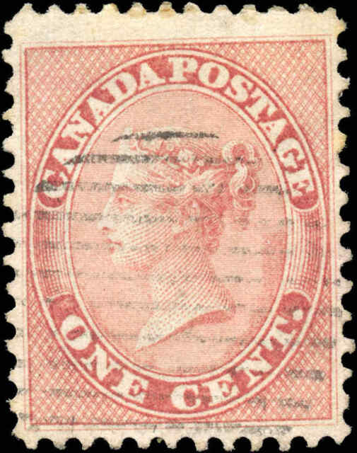1859 Used Canada 1c F-VF Scott #14 Queen Victoria First Cents Stamp
