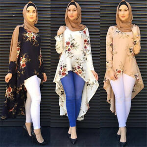 Muslim-Women-Flower-Abaya-Islamic-Asymmetric-Long-Sleeve-Blouse-Irregular-Dress