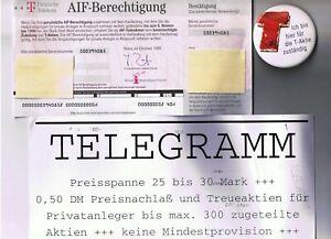 Konvolut Emission Telekom T-Aktie Berechtigungsschein Button Aufkleber 1996