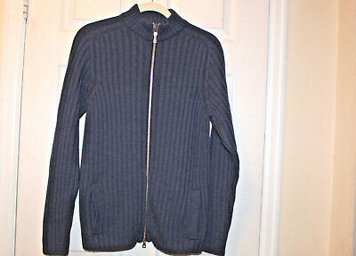 Sweaters Eleventy Very Nice 100% Wool Blue Sweater/cardigan With Zip Closure Men's Sz L Men's Clothing