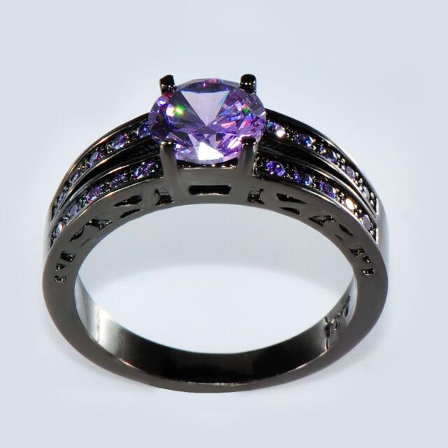 Size 6-10 Fashion Purple Amethyst Wedding Engagement Ring 10KT Black Gold Filled