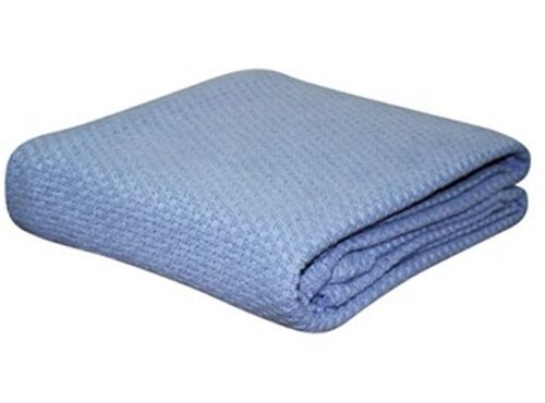 KOMMOTION BLUE 100/% COTTON COT BABY CRIB BLANKET CELLULAR PEBBLE WEAVE 114X152