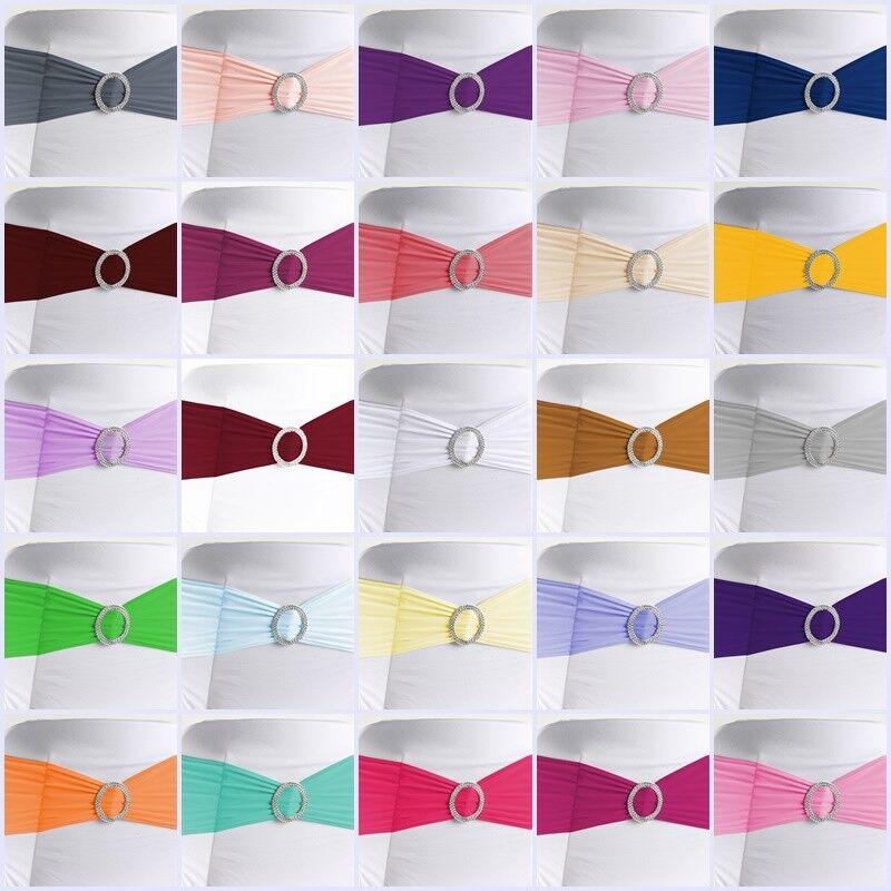 100 x Stuhlschleifen Stretch Schleifenbänder Schleifen für Stuhlhussen Hochzeit