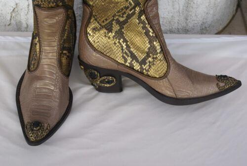 f48f92fbc2205 3 of 12 Giuseppe Zanotti knee high Women's gold Python Western Boots US ...