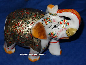 5 Jeweled Marble Gold Jaipur Hand Painted Art Elephant Living Home
