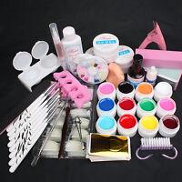 24 In 1 12 Color Uv Builder Gel Sanding Files Pusher Nail Tips Top Coat Tool Kit