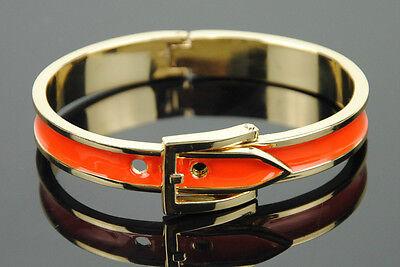 Women Metal Alloy Belt Buckle Bangle Cuff Wristband Enamel Bracelet Gold Skinny