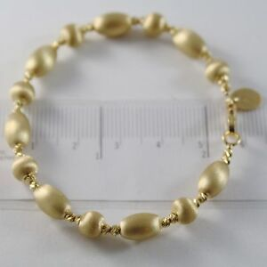 18K-YELLOW-GOLD-BANGLE-SATIN-WORKED-OVALS-FACETED-BALLS-BRACELET-MADE-IN-ITALY