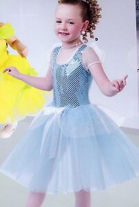 NWOT Cinderella Dance Costume Peplumed Light blue long skirt sequin front girls