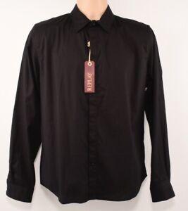 REPLAY-Men-039-s-Casual-Long-Sleeve-Cotton-Shirt-Black-size-MEDIUM