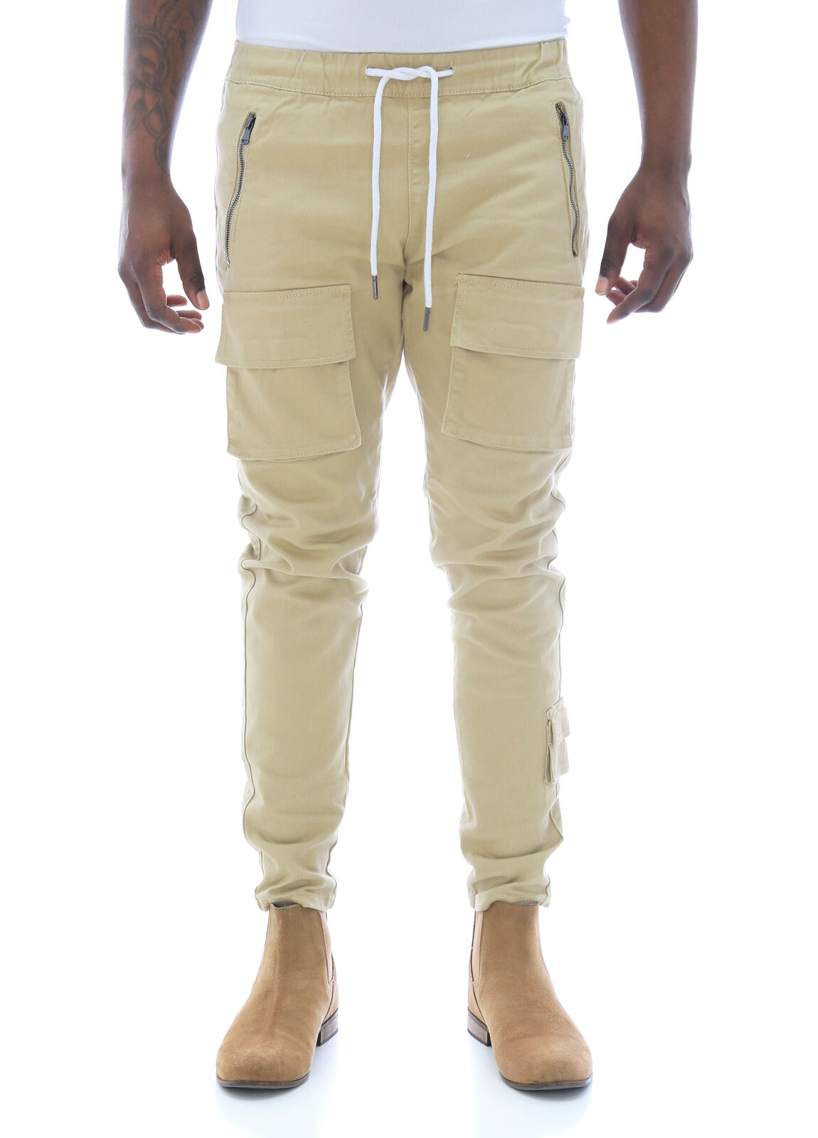 Kayden K Men's Slim Tapered Twill Cargo Jogger Pants With Zipper
