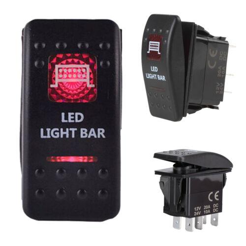 Waterproof Red LED Rocker Toggle Switch LED Bar Light Car Auto 12V 20A