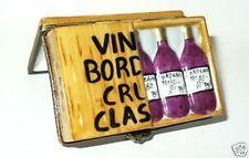 LIMOGES BOX ~ WOODEN WINE CRATE & BORDEAUX 1971 BOTTLES ~ PEINT MAIN