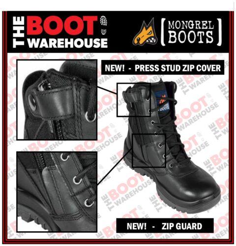 Brand New. Mongrel 251020 Work Boots Black Hi-Leg Zip Sider Steel Toe Safety