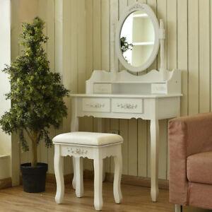 best service 53893 4fe7b Details about Modern Table Set With Mirror Stool Vintage Makeup Desk Girl  Bedroom Dresser