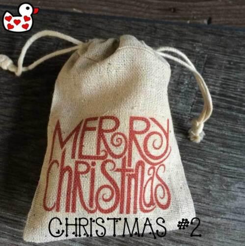 Christmas table party favour pouch vintage gift bag unique rustic