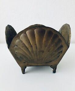 Vintage-Brass-SEA-SHELL-Pot-Vase-Overpot-Plants-Nautical-Beach-Decor-Mid-Century