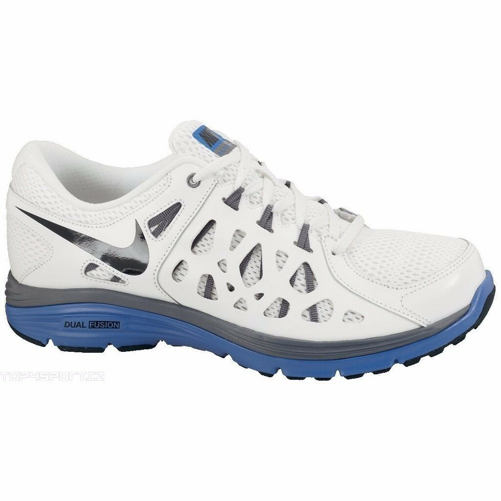NIKE MENS DUAL FUSION RUN 2 UK SIZE 7 WHITE RUNNING TRAINERS SHOES COMFORT