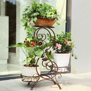 Flower-Racks-European-Style-Iron-3-Tier-Plant-Stand-Pot-Ladder-Garden-Home-Decor
