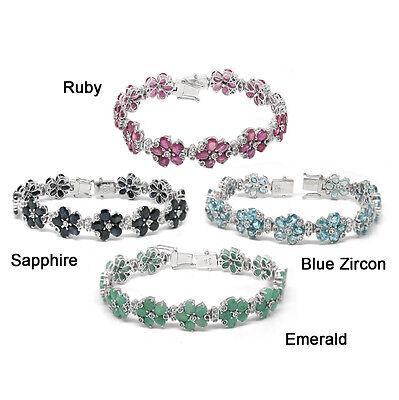 De Buman Sterling Silver Natural Ruby Sapphire or Blue Zircon Bracelet