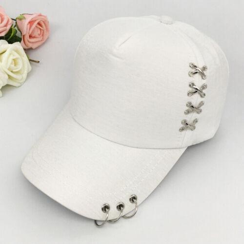KPOP Hat  Piercing Ring Baseball Adjustable Cap Hip Hop Snapback Cap Fashion 0U