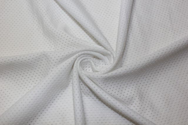 Apparel Fabric 4 Way Stretch White Sports Mesh Knit Lycra Spandex Polyester BTY
