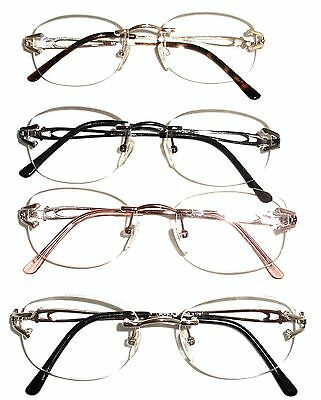 RIMLESS READING GLASSES  - GOLD - GUN METAL - PINK OR SILVER