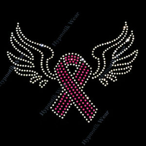 Rhinestone Transfer Pink Breast Cancer Ribbon With Wings Hotfix