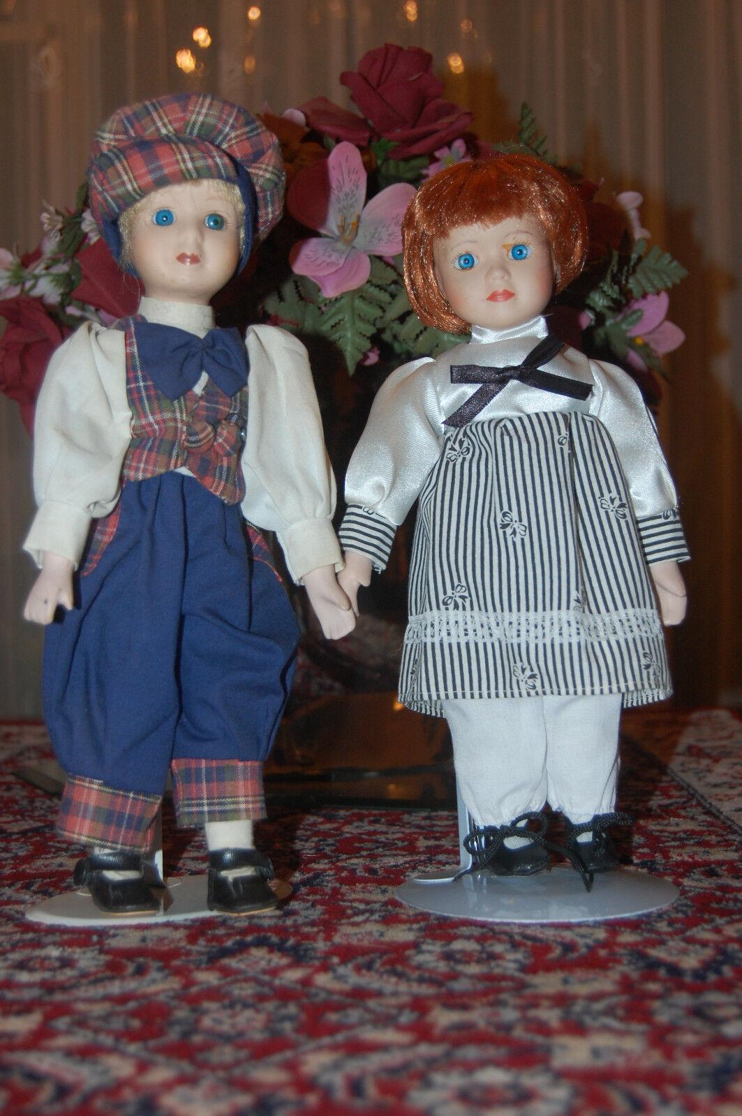 Vintage De Colección Muñeca De Porcelana Boy & Girl Conjunto de 30 Cm