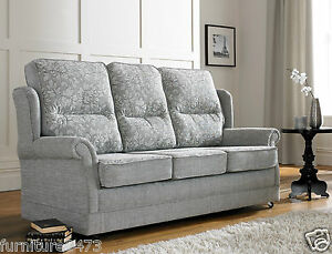 Image Is Loading Grey High Quality Fabric Material 3 Seater Sofa