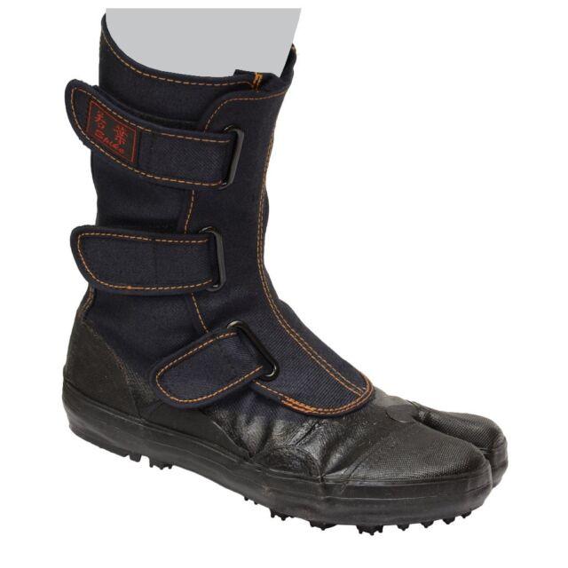 a8c72a3d9b3 Sokaido Tabi work boots Rubber pin spike shoes Wakaba Black I-98 From Japan