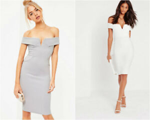 457a82b36ed3 Image is loading MISSGUIDED-v-front-bardot-midi-dress-LADIES-FASHION-