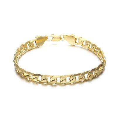 Classic womens mens White//yellow Gold Filled hemp rope cuban link chain Bracelet