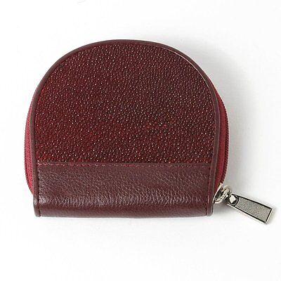 New Women Coin Purse Wallet PKK R033 Burgundy Red GENUINE STINGRAY Skin Leather