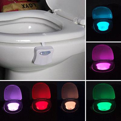 LED 8 Color Night Light Body Motion Sensor Automatic Toilet Seat Bowl Bathroom G