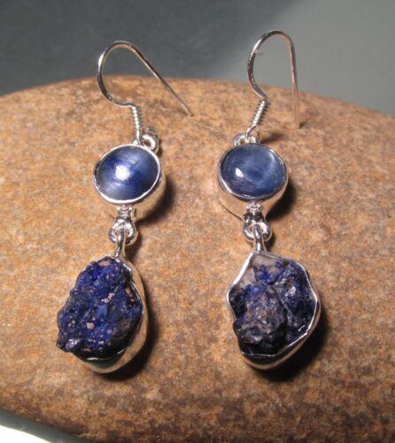Sterling silver chunky blue kyanite /& rough lapis lazuli earrings Gift Bag.