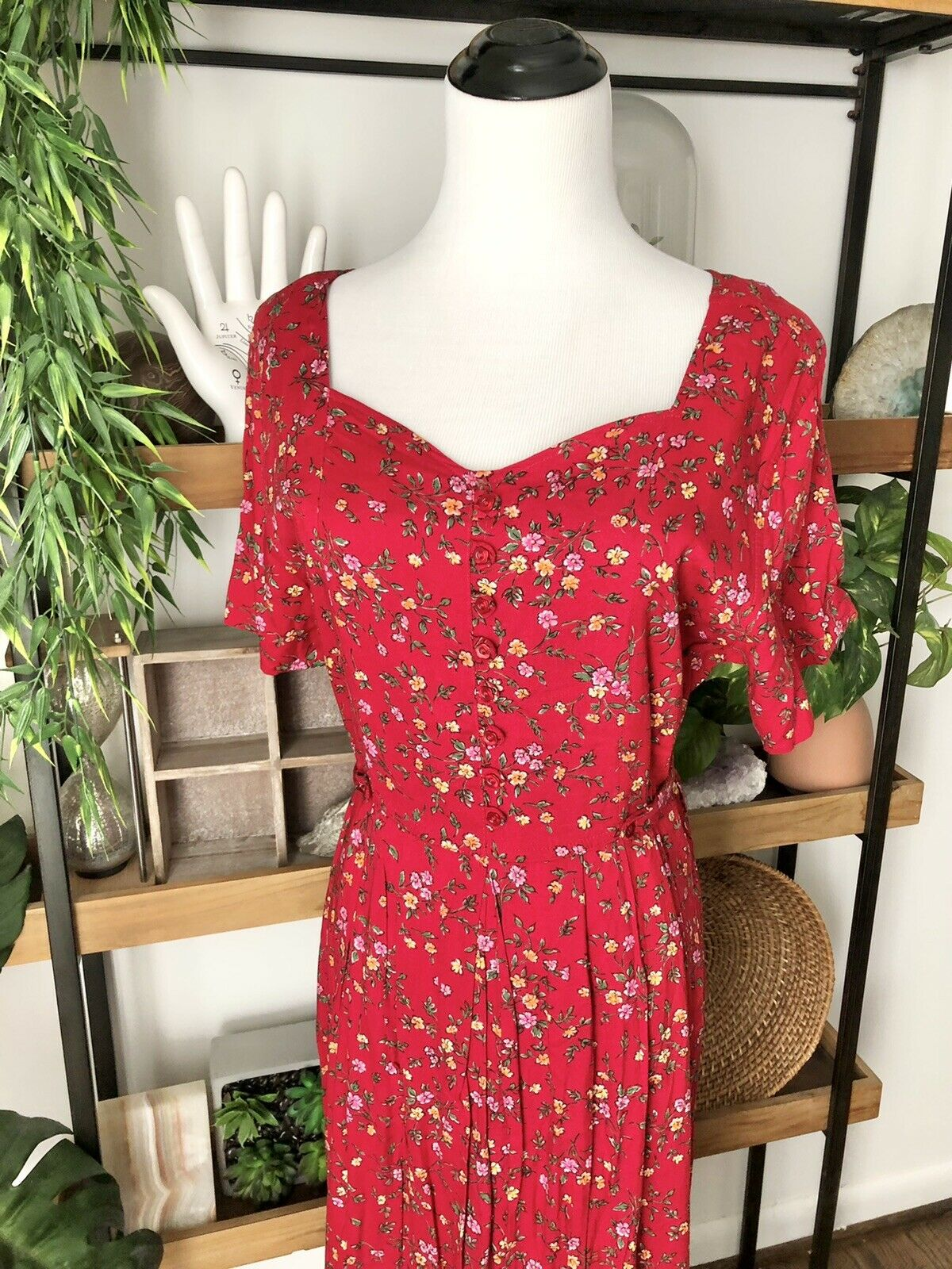 Vintage 90's grunge cottage core Sweetheart  red … - image 2